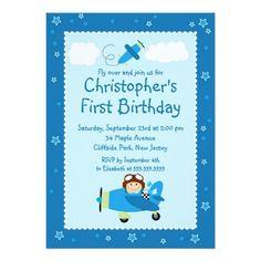 Little Airplane Pilot Birthday Party Invitations