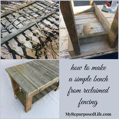 MyRepurposedLife.com - how to make a simple bench from reclaimed fencing