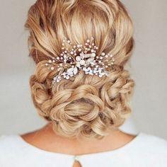 Rhinestone Crystal Bridal Wedding Flower Gold Silver Faux Pearl Hair Clip Comb
