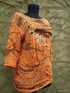 Items similar to Autumnal Orange Blouse/ Hand Knitted Pullover/ Original Jumper with Sleeves on Etsy Knitwear Fashion, Cardigans, Sweaters, Autumnal, Knits, Hand Knitting, Fiber, Creativity, Summer