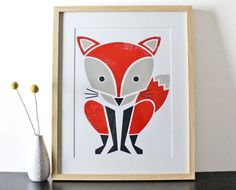 Large Red Fox Screenprint