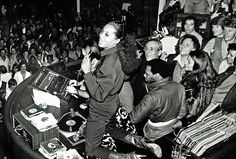Diana Ross singing from the club's DJ booth on closing night at Studio 54.  Explore interior design inspiration and shop vintage furniture, antique furniture, contemporary furniture and mid-century designs.