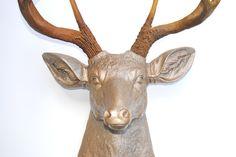 Caramel Latte Faux Deer Head - Metallic Caramel with Natural Brown Antlers - Deer Head Antlers Fake Taxidermy Wall Mount Faux Deer Head, Stag Head, Caramel Latte, Faux Taxidermy, Animal Heads, Natural Brown, Antlers, Event Decor, Decoration