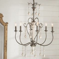 Bouchette Traditional Candle-Style Chandelier by Fleur De Lis Living Farmhouse Dining Room Lighting, Farmhouse Chandelier, Candle Chandelier, Chandelier Lighting, Kitchen Lighting, Entryway Chandelier, Cheap Chandelier, Cottage Lighting, Beaded Chandelier