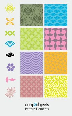 Free Vector Decorative Pattern Elements. Site offers links to other free vector pattern downloads too.