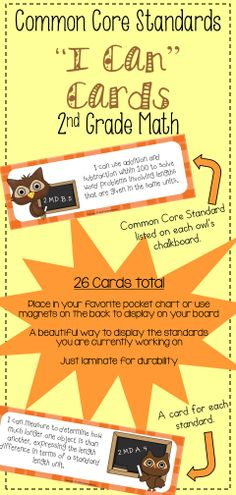 Common Core I Can Cards for 2nd Grade Math-Owl Theme