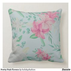 Floral Pillows, Holiday Fashion, Floral Bouquets, Artwork Design, Custom Pillows, Pretty In Pink, Pink Flowers, Throw Pillows, Fabric