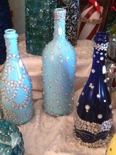 decorated wine/ champagne bottles