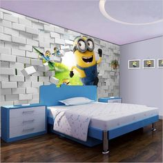 Minions Despicable Me Cartoon Wallpaper for Walls Wall Mural Minion Nursery, Minion Bedroom, Kids Bedroom, Unique Wallpaper, Kids Wallpaper, Cartoon Wallpaper, Wall Wallpaper, Kids Wall Murals, Murals For Kids
