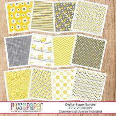 Digital Scrapbook paper in yellow and gray