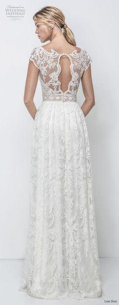 lihi hod 2018 bridal cap sleeves v neck full embellishment romantic bohemian soft a line wedding dress keyhole back sweep train (9) bv