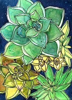 "Daily Paintworks - ""Beautiful Succulents "" - Original Fine Art for Sale - © Catherine Scanlon"