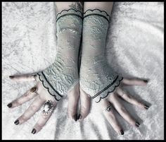 Miriel Lace Fingerless Gloves  Robins Egg Blue by ZenAndCoffee, $35.00