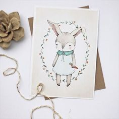 free printable bunny illustration by Kelli Murray
