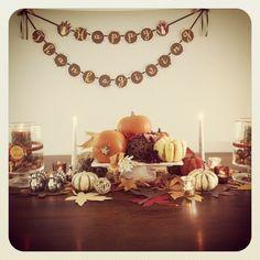 Thanksgiving table decor thanksgiving tabledecor for Homemade thanksgiving decorations for the home