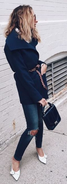 Belted Jacket Stylish Streetstyle; don't like white shoes (unless sneaks) but love the look overall