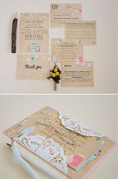 Colorful bunting wedding invites. Love them! http://www.weddingchicks.com/2014/06/24/wedding-paper-giveaway/:
