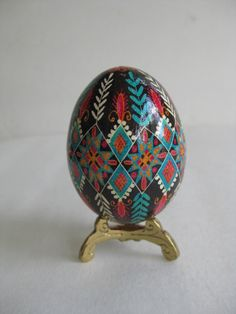 Pysanka with Blue and white and red by ukrainianeastereggs,
