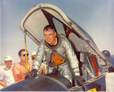 Major Robert M. White exits the cockpit of an X-15 at Edwards AFB. White is wearing a David Clark Co. MC-2 full-pressure suit. White was one of three pilots awarded astronaut wings for his flights in the X-15. (U.S. Air Force)