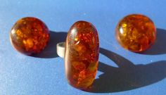 46 SUPER-Color Cognac Honey Natural Baltic AMBER gemstone jewelry RING CLIPS 16g