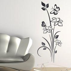 Adesivo Decorativo Flores com Borboleta