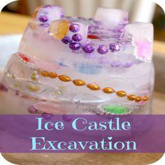 Ice Castle Excavation for Preschoolers: Have your preschooler dig for jewels!!