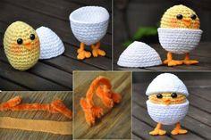 Tina& handicraft : 60 designs ornamental eggs for easter Holiday Crochet, Easter Crochet, Crochet Home, Baby Blanket Crochet, Crochet Baby, Knitting Projects, Crochet Projects, Amigurumi Patterns, Crochet Patterns