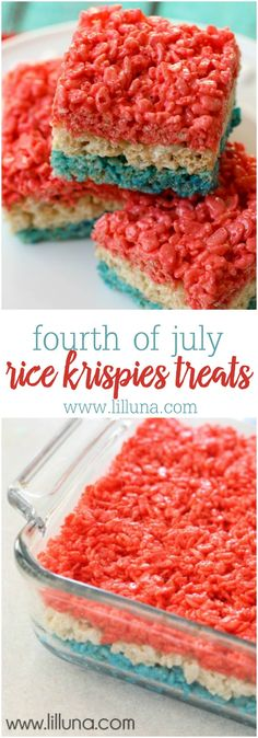 Fourth of July Rice Krispies Treats - these are the easiest and most festive treats you can make for July 4th!!