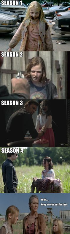 Now Lizzie and mika ),: every season they kill a kid... you stay away from Carl and Judith