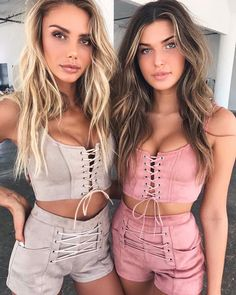 Matching with your BFF @sahara_ray + @charlottedalessio 'Mary Kate' crop + short / #tigermist.com.au