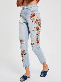 Floral Embroidery Destroyed Tapered Jeans - DENIM BLUE L