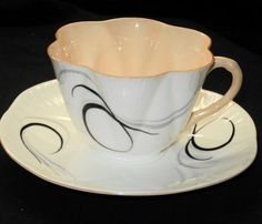 Shelley Dainty Apricot White Black Gold Tea Cup and Saucer