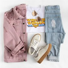 Pink Denim Jacket is part of Fashion outfits - Item Type Jackets Material Polyester, Cotton Material Denim, Cotton, Polyester Teenage Outfits, Teen Fashion Outfits, Mode Outfits, Girl Outfits, Fashion Clothes, Style Clothes, Womens Fashion, Ladies Fashion, Lover Fashion