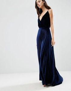ASOS Blouson Strappy Pleated Velvet Maxi Dress