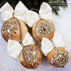 Items similar to Christmas rhinestones ornaments, Handmade balls in gift box, Xmas decorations, Tree decor set, Ivory Gold baubles on Etsy Shabby Chic Christmas Decorations, Pink Christmas Ornaments, Beaded Ornaments, Handmade Ornaments, Xmas Decorations, Gold Ornaments, Etsy Christmas, Christmas Ideas, Christmas Interiors