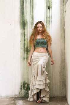 Natural Ivory Linen lace long skirt, gorgeous silhouette, adjastable height on Etsy, $168.00