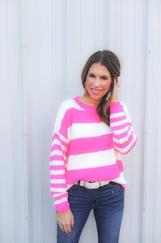 Shop Jess Lea Boutique-Shelbi Striped Lightweight Sweater   #jesslea #jessleaboutique #jessleastyle #casualstyle #momstyle #casualoutfit #easyoutfit #ootd #boutique #boutiquestyle #lightweightsweater #springsweater #pinksweater #stripedsweater #stripes #sweater #perfectsearter #casualsweater Blazer Outfits, Sweater Outfits, Casual Outfits, Chambray Top, Chambray Dress, Valentine's Day Outfit, Floral Kimono, Pink Fashion, Boss Babe