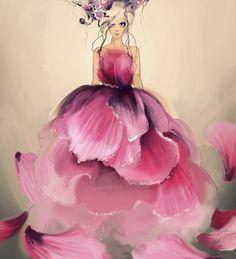 by fashion illustrator Moie Preisenberger Glamour Moda, Arte Fashion, Dress Fashion, Floral Fashion, Woman Fashion, Fashion Models, Style Fashion, Fashion Trends, Illustration Mode