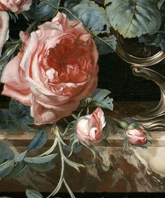 Blush pink petals against silvery blue green foliage. (Willem van Aelst - Flowers in a Silver Vase (1663))