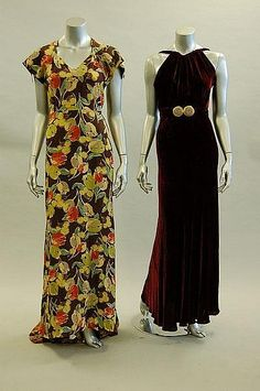 ~Two 1930s evening gowns. Left: Floral-printed crepe with bustle back and trained skirt. Right: Wine velvet with matching belt with millefiori beaded buckle~