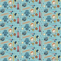 Fabric... Rocket Age Rocket Captain on Blue by  Riley Blake Designs