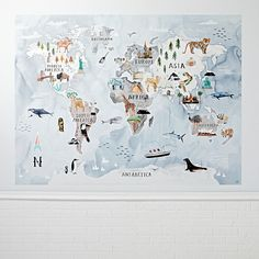Sale ends soon. Shop Watercolor World Map Mural Decal. This giant world map mural decal features animals and icons from every corner of the earth, so kids can explore wildlife and learn geography. Giant World Map, World Map Mural, Kids World Map, World Map Decor, Map Wallpaper, Kids Wallpaper, Nursery Wallpaper, Art Wall Kids, Wall Art Decor