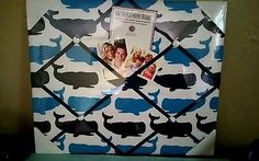 Coastal French Fabric Memo Board Display Photos Nautical Whales