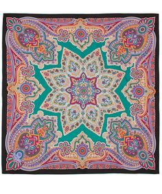 Liberty London Green Star Paisley Silk Scarf