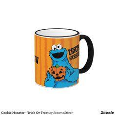 Cookie Monster - Trick Or Treat. Regalos, Gifts. Producto disponible en tienda Zazzle. Tazón, desayuno, té, café. Product available in Zazzle store. Bowl, breakfast, tea, coffee. #taza #mug