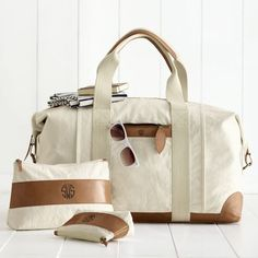 Canvas with Leather Weekender Bag | Mark and Graham | Monogram