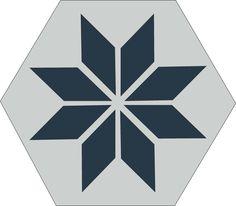 H20M001 format 20 #Carreauxciment #Carrelage #Hexagones #Etoile