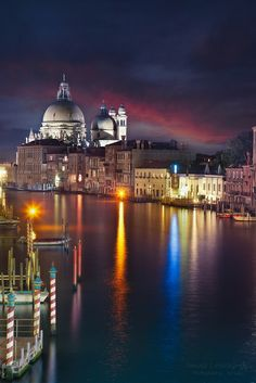 Venice by night, Italy