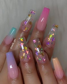 In search for some nail designs and ideas for your nails? Listed here is our listing of must-try coffin acrylic nails for cool women. Summer Acrylic Nails, Best Acrylic Nails, Summer Nails, Acrylic Nails Glitter, Pretty Nails For Summer, Cute Acrylic Nail Designs, Nail Art Designs, Nails Design, Clear Nail Designs