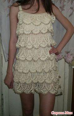 Fabulous Crochet a Little Black Crochet Dress Ideas. Georgeous Crochet a Little Black Crochet Dress Ideas. Crochet Bolero, Crochet Blouse, Crochet Lace, Knit Dress, Ruffle Dress, Ruffled Shirt, Crochet Chart, Ruffles, Russian Crochet